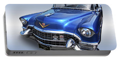 Portable Battery Charger featuring the photograph 1955 Cadillac Blue by Gill Billington