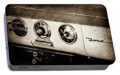 Portable Battery Charger featuring the photograph 1955 Ford Fairlane Dashboard Emblem -0444s by Jill Reger