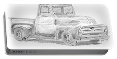 1955 Ford Pickup Sketch Portable Battery Charger