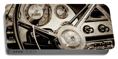 Portable Battery Charger featuring the photograph 1956 Ford Victoria Steering Wheel -0461s by Jill Reger