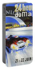 1958 24h Le Mans Grand Prix Automobile Race Poster Portable Battery Charger
