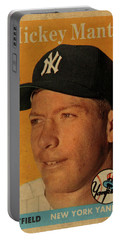 1958 Topps Baseball Mickey Mantle Card Vintage Poster Portable Battery Charger