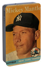 1958 Topps Baseball Mickey Mantle Card Vintage Poster Portable Battery Charger by Design Turnpike