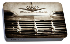 Portable Battery Charger featuring the photograph 1959 Chevrolet Impala Grille Emblem -1014s by Jill Reger