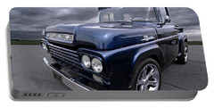 1959 Ford F100 Dark Blue Pickup Portable Battery Charger by Gill Billington