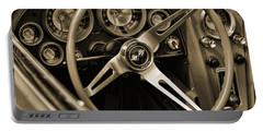 1963 Chevrolet Corvette Steering Wheel - Sepia Portable Battery Charger