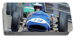 1963 Cooper T66 Coming Out Of Monaco's Mirabeau Portable Battery Charger by Wally Hampton
