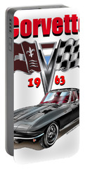 1963 Corvette With Split Rear Window Portable Battery Charger by Thomas J Herring
