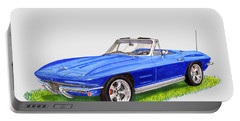 Portable Battery Charger featuring the painting 1964 Corvette Stingray by Jack Pumphrey