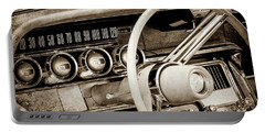 Portable Battery Charger featuring the photograph 1964 Ford Thunderbird Steering Wheel -0280s by Jill Reger