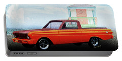 1965 Ford Falcon Ranchero Day At The Beach Portable Battery Charger