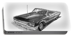Portable Battery Charger featuring the drawing 1965 Thunderbird Convertible By Ford by Jack Pumphrey