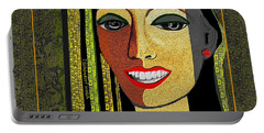 Portable Battery Charger featuring the digital art 1966 - Lady With Beautiful Teeth by Irmgard Schoendorf Welch