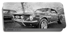 1967 Ford Mustang Coupe Bw C119 Portable Battery Charger by Rich Franco