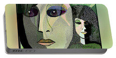 Portable Battery Charger featuring the digital art 1968 - A Dolls Head by Irmgard Schoendorf Welch