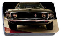 Portable Battery Charger featuring the digital art 1969 Ford Mustang by Chris Flees