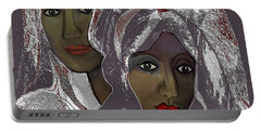 Portable Battery Charger featuring the digital art 1969 -  White Veils by Irmgard Schoendorf Welch