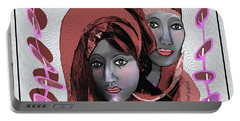 Portable Battery Charger featuring the digital art 1971- Rosecoloured Portrait 2017 by Irmgard Schoendorf Welch