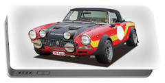 1972 Fiat Abarth 124 Rally Illustration Portable Battery Charger
