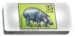 1975 East Germany Zoo Hippopotamus Postage Stamp Portable Battery Charger