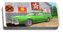 Portable Battery Charger featuring the painting 1976 Ford Thunderbird by Jack Pumphrey