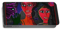 Portable Battery Charger featuring the digital art 1977 - Faces Red by Irmgard Schoendorf Welch