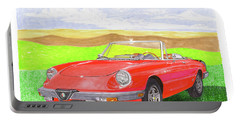 Portable Battery Charger featuring the painting 1983 Alfa Romero Spider Veloce by Jack Pumphrey