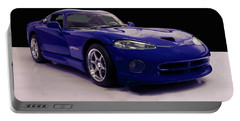 Portable Battery Charger featuring the digital art 1997 Dodge Viper Gts Blue by Chris Flees