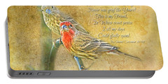 A Pair Of Housefinches With Verse Part 2 - Digital Paint Portable Battery Charger by Debbie Portwood