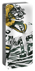 Aaron Rodgers Green Bay Packers Pixel Art 4 Portable Battery Charger by Joe Hamilton