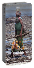 African Woman Collecting Shells 1 Portable Battery Charger