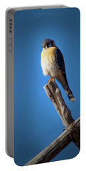 Portable Battery Charger featuring the digital art American Kestrel by Ernie Echols