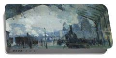 Arrival Of The Normandy Train Gare Saint-lazare Portable Battery Charger by Claude Monet