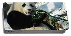 Bao Bao Sittin' In The Snow Taking A Bite Out Of Bamboo1 Portable Battery Charger