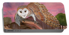 Barn Owl Portable Battery Charger by Walter Colvin