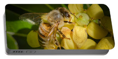Bees Gathering From Pittosporum Flowers Portable Battery Charger