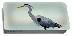 Portable Battery Charger featuring the painting Blue Water Heron by James Williamson
