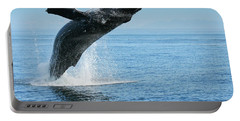 Portable Battery Charger featuring the photograph Breaching Humpback Whales Happy-1 by Dorothy Darden