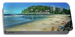 Portable Battery Charger featuring the painting Burleigh Beach 100910 by Selena Boron
