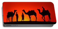 Camels At Sunset Portable Battery Charger