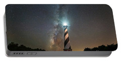 Cape Hatteras Lighthouse Milky Way Portable Battery Charger by Michael Ver Sprill