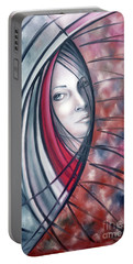 Portable Battery Charger featuring the painting Catch Me If You Can 080908 by Selena Boron