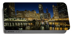 Chicago River And Skyline At Dawn Portable Battery Charger