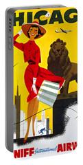 Chicago Vintage Travel Poster Restored Portable Battery Charger by Carsten Reisinger