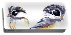 Portable Battery Charger featuring the painting 2 Chickadees by Dawn Derman