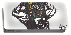 Portable Battery Charger featuring the drawing Clay Matthews 2 by Jeremiah Colley