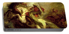 Portable Battery Charger featuring the painting Collision Of Moorish Horsemen by Eugene Delacroix