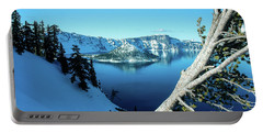 Crater Lake Winterscape Portable Battery Charger by Nick Boren