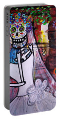 Portable Battery Charger featuring the painting Day Of The Dead Bride by Pristine Cartera Turkus