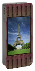 Portable Battery Charger featuring the photograph Effel Tower Paris France Landmark Photography Towels Pillows Curtains Tote Bags by Navin Joshi